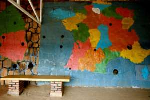 France and Rwanda once had close cultural ties, as this 2006 photo of a map in a Kigali school shows.  By JOSE CENDON (AFP)