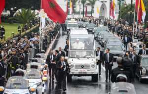 Francis travelled to the welcome ceremony in his Popemobile. By FADEL SENNA (AFP)