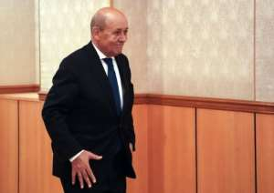 French Foreign Minister Jean-Yves Le Drian, pictured at the UN on September 26, said a military solution would not solve the conflict in Libya.  By Bryan R. Smith (AFP)