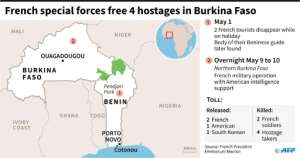 Map showing Burkina Faso and details about four hostages being freed by French special forces.. By (AFP)