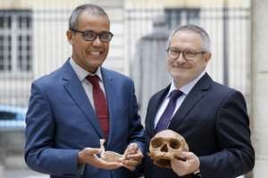 French paleoanthropologist Jean-Jacques Hublin and Abdelouahed Ben-Ncer of Morocco's National Institute of Archaeology and Heritage Sciences in Morocco mull research which has advanced human origins by a hundred millennia, undermining previous scientific consensus that our forefathers emerged in East Africa about 200,000 years ago