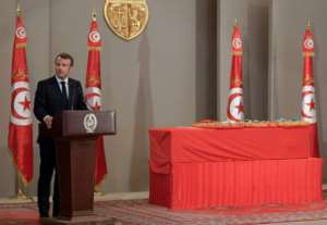 French President Emmanuel Macron was one of several foreign leaders to attend a state funeral for Tunisian president Beji Caid Essebsi in the capital Tunis.  By Fethi Belaid (POOL/AFP)
