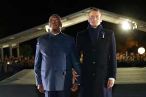 French President Emmanuel Macron and Mali's President Ibrahim Boubacar Keita paid tribute together to the African soldiers who fought in World War I.  By PHILIPPE WOJAZER (POOL/AFP)