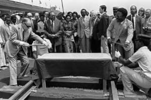 French President Francois Mitterrand (L) and Gabon's President Omar Bongo inaugurate the second section of the transgabonais railway in Franceville in January 1983.  By DANIEL JANIN (AFP/File)