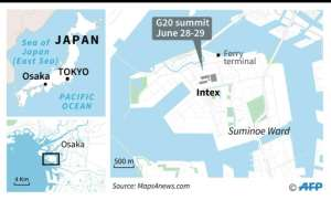 Map of Osaka locating the venue for the G20 leaders' summit on June 28-29..  By Valentina BRESCHI (AFP)