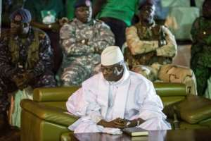 Gambian President Yahya Jammeh attends a rally in Banjul in November 2016.  By MARCO LONGARI (AFP/File)