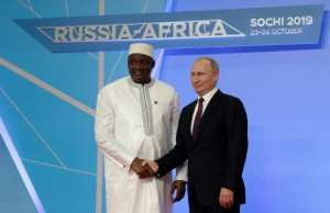 Gambian President Adama Barrow was among the African leaders attending the first Russia-Africa summit co-hosted by President Vladimir Putin.  By Sergei CHIRIKOV (POOL/AFP)