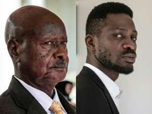 Generations apart: Museveni, 76, and Bobi Wine, 38.  By Sumy Sadurni , YASUYOSHI CHIBA (AFP/File)