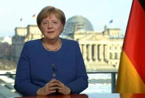 German Chancellor Angela Merkel addressing the nation on the spread of the new coronavirus COVID-19.  By Uta TOCHTERMANN (AFP)