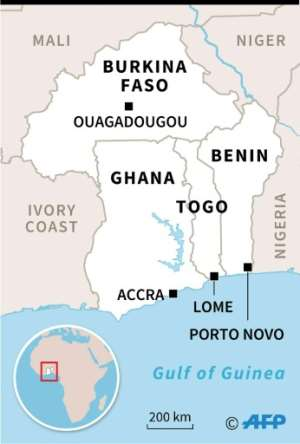 Map locating Ghana, Togo, Benin and Burkina Faso in Africa.  By  (AFP)