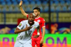 Ghana captain Andre Ayew celebrates a goal before it was disallowed in an Africa Cup of Nations last-16 match against Tunisia.  By Giuseppe CACACE (AFP)