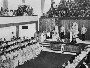 Ghana's President Kwame Nkrumah addresses parliament in 1960. In 1957, Ghana became the first country in sub-Saharan Africa to declare independence.  By  (AFP)