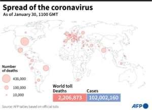 Global spread of coronavirus.  By Simon MALFATTO (AFP)