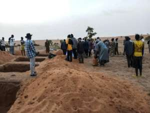 Graves have been dug for the victims of Sobane Da. Ninety-five people were killed, according to a provisional toll.  By STRINGER (AFP)