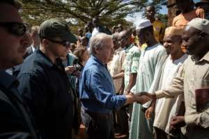 Guterres spoke to displaced people, most of them Muslim, in Bangassou who have holed up in a Catholic seminary and fear bloody attacks by the anti-Balaka