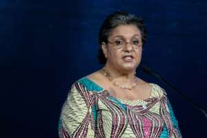 Hanna Serwaa Tetteh, who has been proposed as UN envoy on Libya, delivers a speech in Nairobi in 2018.  By Yasuyoshi CHIBA (AFP/File)