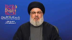 Hassan Nasrallah, the head of Lebanon's powerful Shiite movement Hezbollah, has urged followers to abide by government restrictions designed to combat the spread of coronavirus.  By - (AL-MANAR TV/AFP)