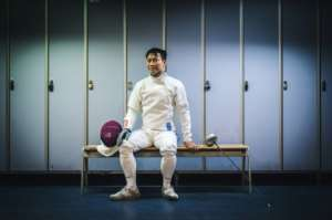 Hon Sum Ray Lau is a 38-year-old high school mathematics teacher in Hong Kong, who will face off with fellow fencers at the games.  By Lucas Barioulet (AFP)