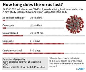 How long does the virus survive?.  By John SAEKI (AFP)