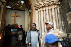 Hundreds of asylum-seekers sought refuge in a church.  By RODGER BOSCH (AFP/File)