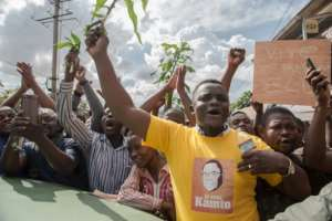 Hundreds of supporters rallied in support of Kamto in Yaounde on Saturday.  By STRINGER (AFP)