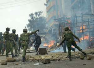 In poor neighbourhoods in Odinga's western stronghold Kisumu, and in the slums of Nairobi, rioting started immediately after Kenyatta was declared the winner
