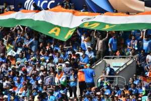 India's supporters cheer during their ICC Champions Trophy match against South Africa, at The Oval in London, on June 11, 2017