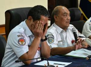 Indonesian air safety officials Soerjanto Tjahjono (R), and Nurcahyo briefed journalists in Jakarta during a March 21, 2019 news conference about the Lion Air crash in 2018. By BAY ISMOYO (AFP/File)