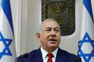 Israeli Prime Minister Benjamin Netanyahu, pictured here at a cabinet meeting on January 6, 2019, is set to visit Chad.  By GALI TIBBON (AFP/File)