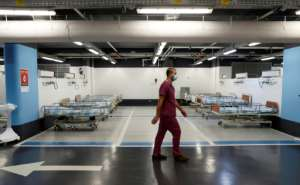 Israel's Rambam Health Care Campus in Haifa has transformed a car park into an intensive care facility for coronavirus patients.  By JACK GUEZ (AFP)