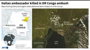 Map of DR Congo's eastern Goma region and Kibumba where Italy's ambassador was killed in an attack on a UN convoy, Feb 22.  By Patricio ARANA (AFP)