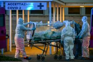 Italy, the hardest hit nation in Europe, announced another surge in deaths.  By ANDREAS SOLARO (AFP)