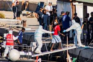 Italy has taken in 27 unaccompanied migrant children from the vessel but demanded the rest stay on the ship.  By Alessandro SERRANO (AFP)