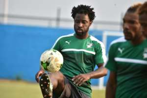 Ivory Coast's Wilfried Bony takes part in a training session on January 17 in Oyem, Gabon, during the 2017 Africa Cup of Nations tournament