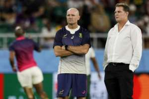 Jacques Nienaber (left) was confirmed on Friday as new South Africa head coach, taking over from Rassie Erasmus (right) who remains as director of rugby.  By Adrian DENNIS (AFP/File)