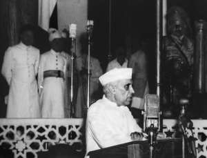 Jawaharlal Nehru, India's first prime minister, forged the Gandhi-Nehru family dynasty that has dominated Indian politics for most of the decades since.  By STR (PRESS INFORMATION BUREAU/AFP/File)