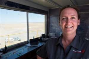Jessica Kinsman, 39, is an air traffic controller who oversees the Bloodhound's safety.  By RODGER BOSCH (AFP)