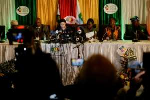 Justice Priscilla Chigumba (C) declares Emmerson Mnangagwa the winner of Monday's presidential election.  By Zinyange AUNTONY (AFP)