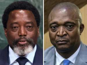Kabila, left, announced he supported former interior minister Emmanuel Ramazani Shadary, right, as candidate in the December elections.  By Bryan R. Smith, Junior D. KANNAH (AFP)