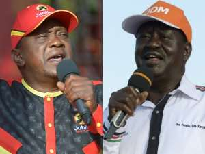 Kenyan opposition leader Raila Odinga (right) is challenging results showing that President Uhuru Kenyatta appears to have an unassailable lead in the presidential election