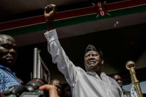 Kenyan opposition leader Raila Odinga swore himself in as the 'people's president' during a mock ceremony in Nairobi on January 30, 2018.  By Luis Tato (AFP/File)
