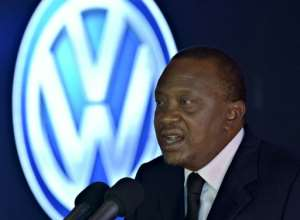 Kenyan President Uhuru Kenyatta launches a new assembly line for Volkswagen's Polo Vivo on December 21, 2016