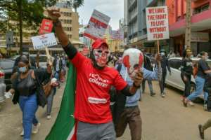 Kenyans demonstrated in July last year against police brutality.  By TONY KARUMBA (AFP/File)