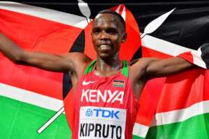 Kenya's Amos Kipruto, who won bronze in the Men's Marathon at the 2019 IAAF Athletics World Championships in Doha, told AFP his countrymen 'gave me morale'.  By Giuseppe CACACE (AFP)