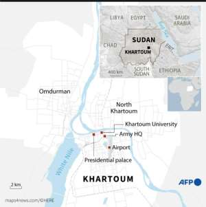 Map of Khartoum locating the army HQ, Army Road and Omdurman. By Vincent LEFAI (AFP)