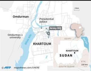 Close-up map of Khartoum.  By Vincent LEFAI (AFP)