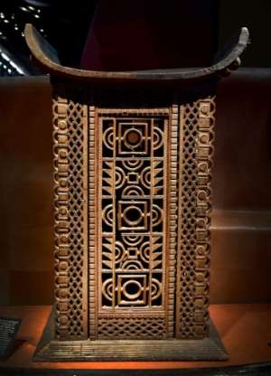 King Ghezo's throne of Abomey, capital of the Dahomey kingdom in modern-day Benin, is displayed at the Quai Branly museum in Paris.  By GERARD JULIEN (AFP)