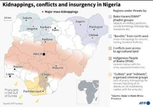 Kidnappings and conflicts in Nigeria.  By Gal ROMA (AFP/File)