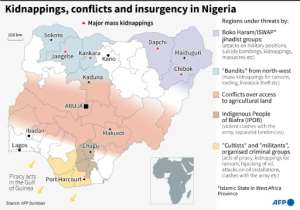 Map locating major mass kidnappings in Nigeria and other regions facing threats from different conflicts, insurgency or criminal groups.  By Gal ROMA (AFP)