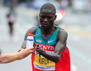 Abel Kirui's time was the second fastest in world championships history.  By Mark Ralston (AFP)